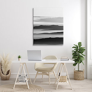 Stupell Misty Clouds Eerie Mountain Landscape Black White 36 X 48 Canvas Wall Art, Gray, rollover