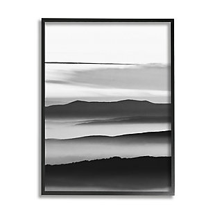 Stupell Misty Clouds Eerie Mountain Landscape Black White 24 x 30 Framed Wall Art, Gray, large