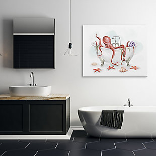Stupell Red Octopus Nautical Claw Bath Sea Shells 36 x 48 Canvas Wall Art, Gray, rollover