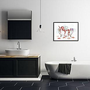 Stupell Red Octopus Nautical Claw Bath Sea Shells 24 X 30 Framed Wall Art, Gray, rollover