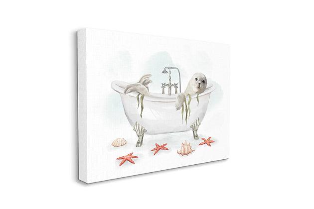Stupell White Harp Seal Ocean Inspired Bath Animal 36 X 48 Canvas Wall Art, White, large