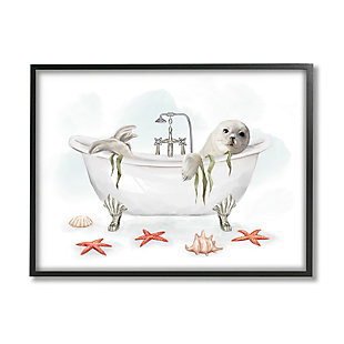 Stupell White Harp Seal Ocean Inspired Bath Animal 24 x 30 Framed Wall Art, White, large