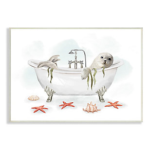 Stupell White Harp Seal Ocean Inspired Bath Animal 13 x 19 Wood Wall Art, White, large