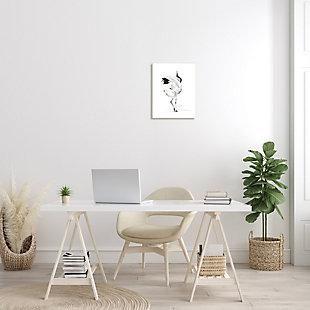 Stupell Dancing Crane Minimal Black White Bird Pose 13 x 19 Wood Wall Art, Black, rollover