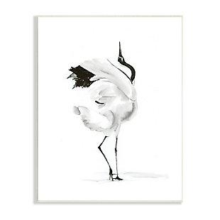 Stupell Dancing Crane Minimal Black White Bird Pose 13 x 19 Wood Wall Art, Black, large