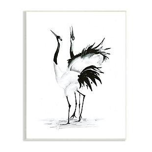 Stupell Singing Crane Couple Black White Birds Dancing 13 x 19 Wood Wall Art, Black, large