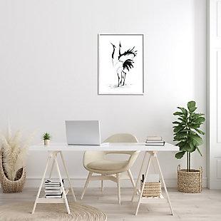 Stupell Singing Crane Couple Black White Birds Dancing 24 x 30 Framed Wall Art, Black, rollover