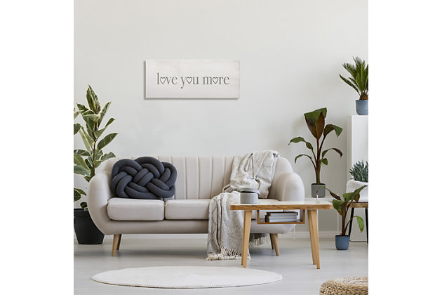 Stupell Love You More Romantic Phrase Heart Typography 13 X 30 Canvas Wall Art, Gray, large
