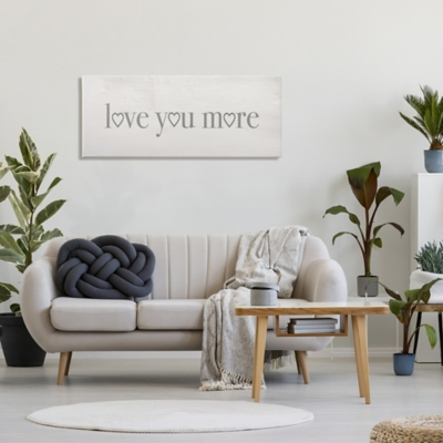 Stupell Love You More Romantic Phrase Heart Typography 20 X 48 Canvas Wall Art, Gray, large