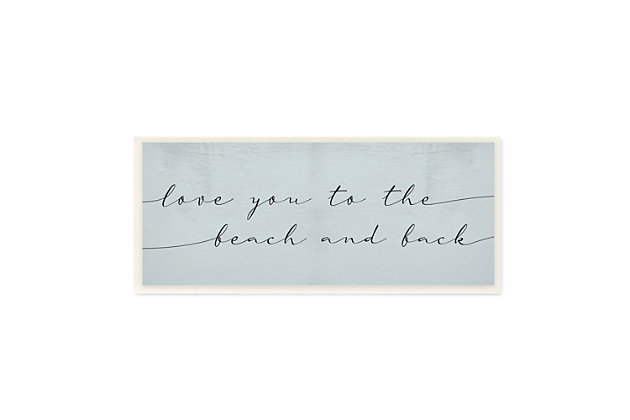 Stupell Love You Beach and Back Romantic Phrase Blue 7 x 17 Wood Wall Art, , large
