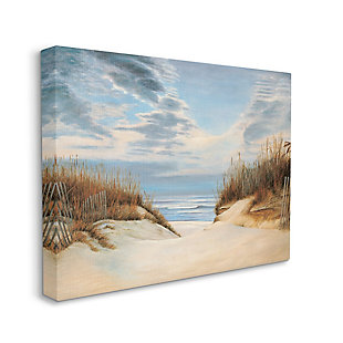 Stupell Alluring Cloudy Beach Path Wooden Fence Tall Grass 36 X 48 Canvas Wall Art, Blue, large