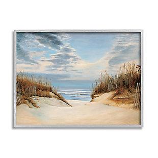 Stupell Alluring Cloudy Beach Path Wooden Fence Tall Grass 24 x 30 Framed Wall Art, Blue, large