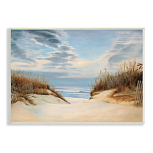 Stupell Alluring Cloudy Beach Path Wooden Fence Tall Grass 13 x 19 Wood Wall Art, Blue, large