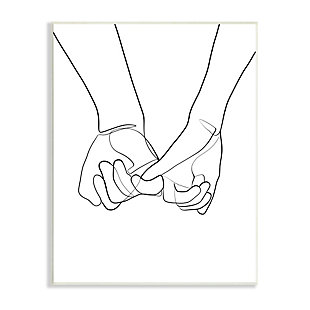 Stupell Fluid Line Abstract Couple Holding Hands Black White 13 x 19 Wood Wall Art, Black, large