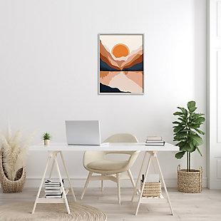 Stupell Vibrant Orange Sunrise Minimal Mountain Lake Abstraction 24 X 30 Framed Wall Art, Beige, rollover