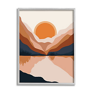 Stupell Vibrant Orange Sunrise Minimal Mountain Lake Abstraction 24 X 30 Framed Wall Art, Beige, large