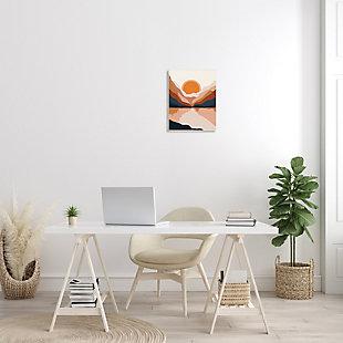 Stupell Vibrant Orange Sunrise Minimal Mountain Lake Abstraction 13 x 19 Wood Wall Art, Beige, rollover