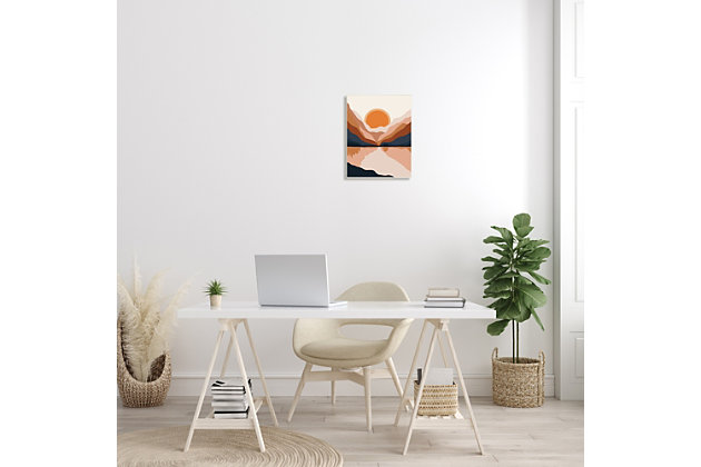 Stupell Vibrant Orange Sunrise Minimal Mountain Lake Abstraction 13 x 19 Wood Wall Art, Beige, large