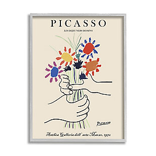 Stupell Classical Picasso Floral Painting Hands Holding Bouquet 24 x 30 Framed Wall Art, Green, large