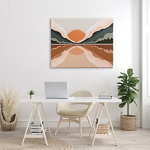 Stupell Misty Sunrise Geometric Green Mountain Lake Reflection 36 x 48 Canvas Wall Art, Orange, rollover