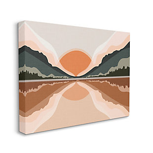 Stupell Misty Sunrise Geometric Green Mountain Lake Reflection 36 x 48 Canvas Wall Art, Orange, large