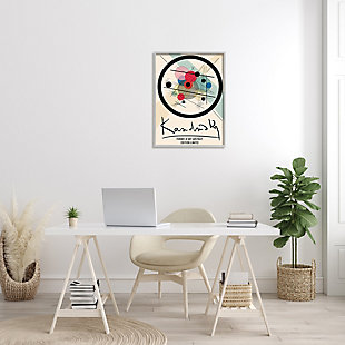 Stupell Kandinsky Traditional Abstract Layered Circles Patchwork Lines 24 x 30 Framed Wall Art, Beige, rollover