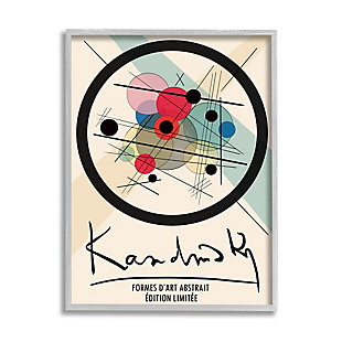 Stupell Kandinsky Traditional Abstract Layered Circles Patchwork Lines 24 x 30 Framed Wall Art, Beige, large