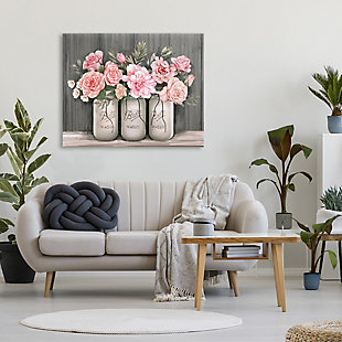 Stupell Blossoming Pink Rose Bouquets Rustic Country Jars 36 x 48 Canvas Wall Art, Gray, rollover