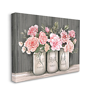 Stupell Blossoming Pink Rose Bouquets Rustic Country Jars 36 x 48 Canvas Wall Art, Gray, large