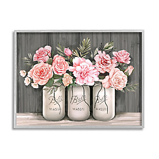 Stupell Blossoming Pink Rose Bouquets Rustic Country Jars 24 x 30 Framed Wall Art, Gray, large