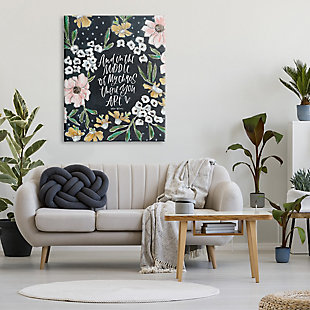 Stupell Middle Of My Chaos Romantic Expression Blushing Florals 36 X 48 Canvas Wall Art, Black, rollover