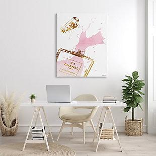 Stupell Glam Perfume Bottle Splash Pink Gold 36 x 48 Canvas Wall Art, Pink, rollover