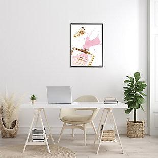 Stupell Glam Perfume Bottle Splash Pink Gold 24 X 30 Framed Wall Art, Pink, rollover