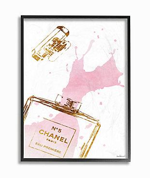 Stupell Glam Perfume Bottle Splash Pink Gold 24 X 30 Framed Wall Art, Pink, large