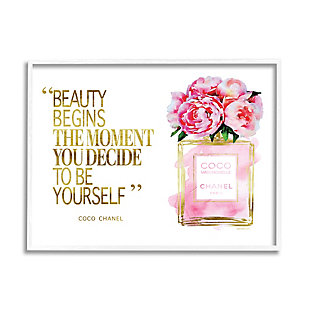 Stupell Fashion Designer Perfume Gold Pink Watercolor Inspirational Word 24 x 30 Framed Wall Art, Pink, large