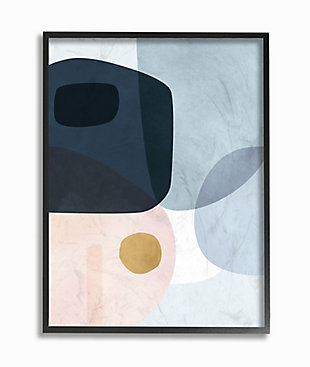 Stupell Mod Shapes Blue Navy And Peach Overlapping Abstract 24 X 30 Framed Wall Art, Blue, rollover