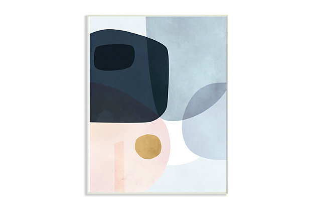 Stupell Mod Shapes Blue Navy and Peach Overlapping Abstract 10 x 15 Wood Wall Art, Blue, large