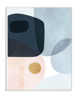 Stupell Mod Shapes Blue Navy and Peach Overlapping Abstract 13 x 19 Wood Wall Art, Blue, large