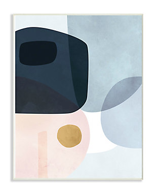 Stupell Mod Shapes Blue Navy and Peach Overlapping Abstract 13 x 19 Wood Wall Art, Blue, rollover