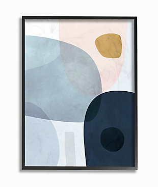Stupell Mod Shapes Slate Blue Navy and Peach Overlapping Abstract 24 x 30 Framed Wall Art, Blue, large