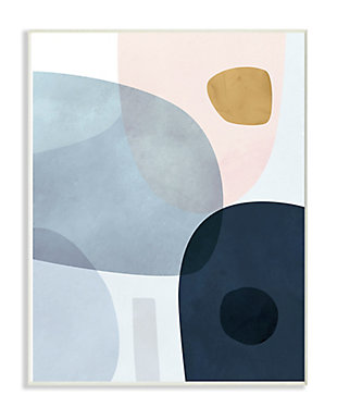 Stupell Mod Shapes Slate Blue Navy and Peach Overlapping Abstract 10 x 15 Wood Wall Art, Blue, large
