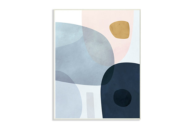 Stupell Mod Shapes Slate Blue Navy and Peach Overlapping Abstract 13 x 19 Wood Wall Art, Blue, large