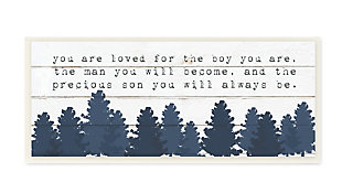 Stupell You Are Loved For The Precious Son You Are Navy Blue Forest 7 x 17 Wood Wall Art, , rollover