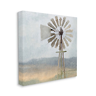 Stupell Neutral Blue Windmill Breeze Farmyard Painting 36 X 36 Canvas Wall Art, Blue, large