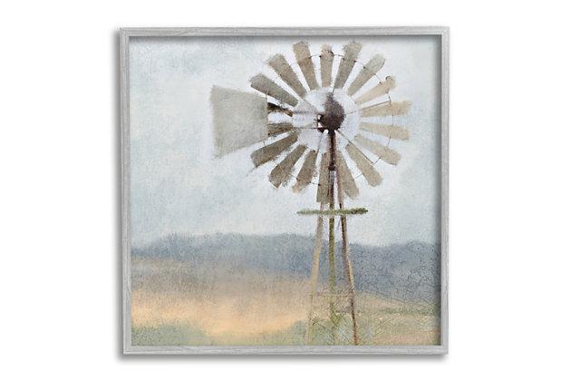 Stupell Neutral Blue Windmill Breeze Farmyard Painting 24 x 24 Framed Wall Art, Blue, large
