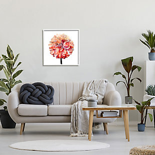 Stupell Bright Coral Watercolor Bloom Dahlia Flower 24 x 24 Framed Wall Art, Pink, rollover