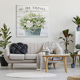 Stupell Do All Things With Great Love Floral Magnolia Pail Planked Look 36 X 36 Canvas Wall Art, Green, rollover