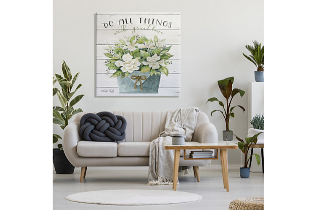 Stupell Do All Things With Great Love Floral Magnolia Pail Planked Look 36 X 36 Canvas Wall Art, Green, large