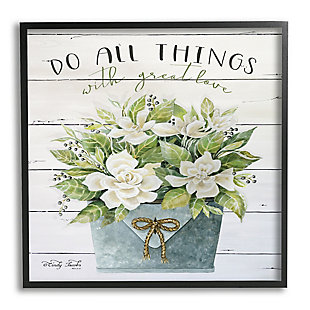 Stupell Do All Things With Great Love Floral Magnolia Pail Planked Look 24 x 24 Framed Wall Art, Green, large