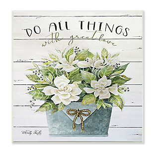 Stupell Do All Things With Great Love Floral Magnolia Pail Planked Look 12 x 12 Wood Wall Art, , large